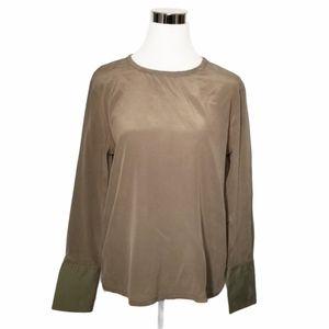 Equipment Femme Olive Green Silk Shirt Siz…